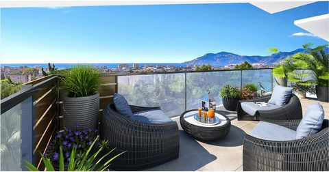 Overlooking the Bay of Cannes with sea view, in the quiet of a residential area close to downtown, this residence offers a lush Mediterranean garden, colours and perfumes so typical of the Riviera, haven of greenery dotted with olive trees, Palm tree...