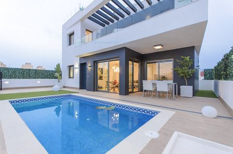 Stunning detached 3 bedroom 3.5 bathroom villas with 6 x 3 pool in the popular area of Villamartin. The properties have an open plan lounge with dining area and large modern kitchen, en-suite bedroom and separate WC downstairs, upstairs are a further...