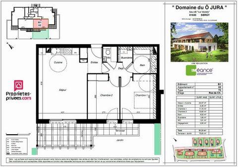 SERGY Centre ville, Appartement T3 3 Room (s) 61 m², Ground floor, 2 Bedrooms