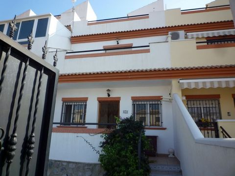 Torrevieja, Costa Blanca. This great 3 bedroom townhouse has a large patio on the ground floor and a terrace on the first floor. 2 full bathrooms and a separate kitchen. Private garage and community gardens with pool. The bedrooms have large, built i...
