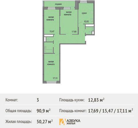 Продается 3-комн. кв-ра площадью 90,9 кв.м на 2 этаже 17 этажного дома в ЖК
